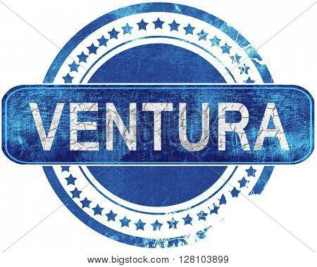 ventura grunge blue stamp. Isolated on white.