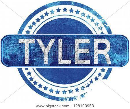 tyler grunge blue stamp. Isolated on white.