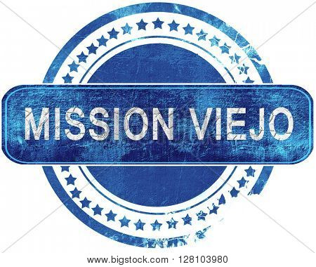 mission viejo grunge blue stamp. Isolated on white.