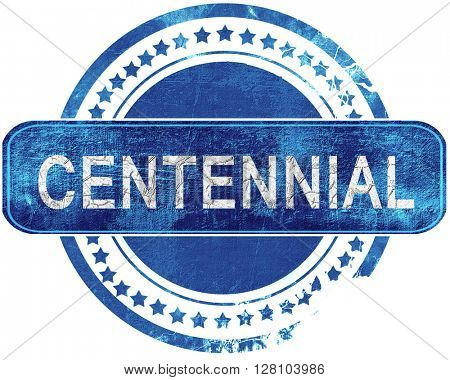 centennial grunge blue stamp. Isolated on white.
