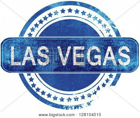 las vegas grunge blue stamp. Isolated on white.