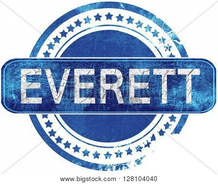 everett grunge blue stamp. Isolated on white.