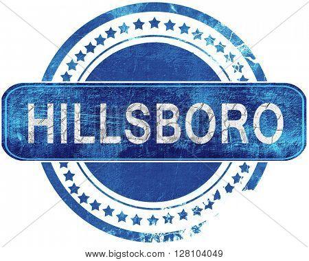 hillsboro grunge blue stamp. Isolated on white.