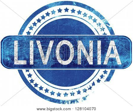 livonia grunge blue stamp. Isolated on white.