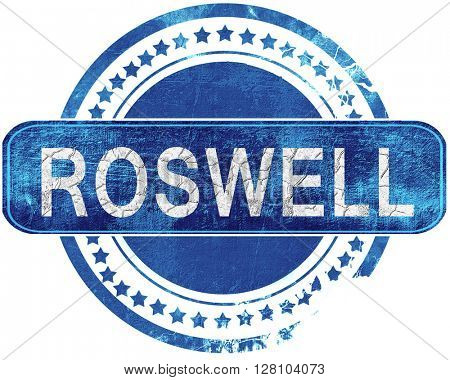roswell grunge blue stamp. Isolated on white.