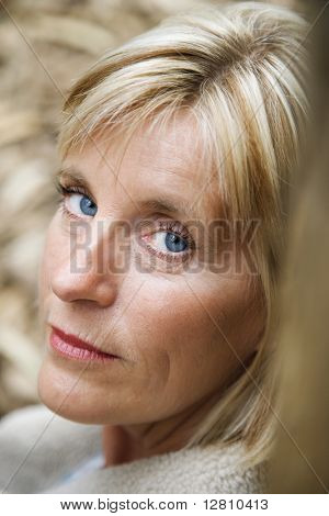 Head shot of middle-aged Caucasian woman.