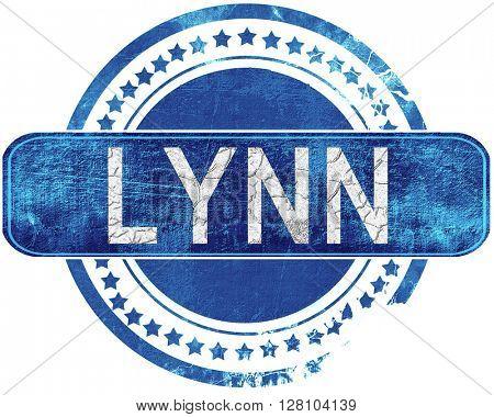 lynn grunge blue stamp. Isolated on white.