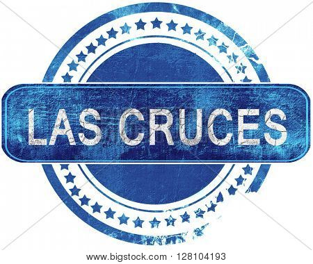 las cruces grunge blue stamp. Isolated on white.