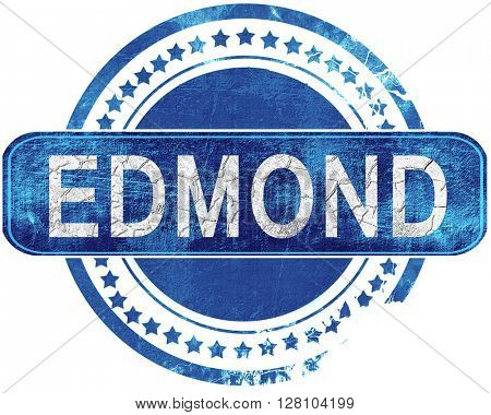 edmond grunge blue stamp. Isolated on white.