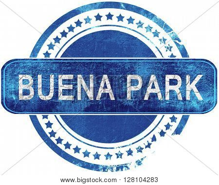buena park grunge blue stamp. Isolated on white.