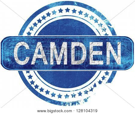 camden grunge blue stamp. Isolated on white.