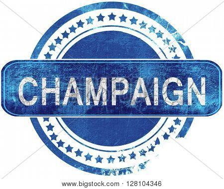champaign grunge blue stamp. Isolated on white.