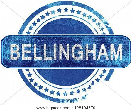 bellingham grunge blue stamp. Isolated on white.