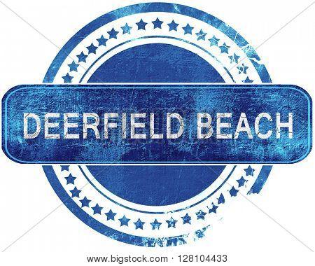 deerfield beach grunge blue stamp. Isolated on white.