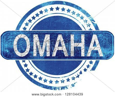 omaha grunge blue stamp. Isolated on white.