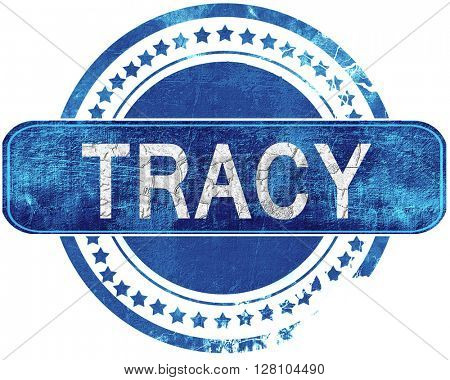 tracy grunge blue stamp. Isolated on white.