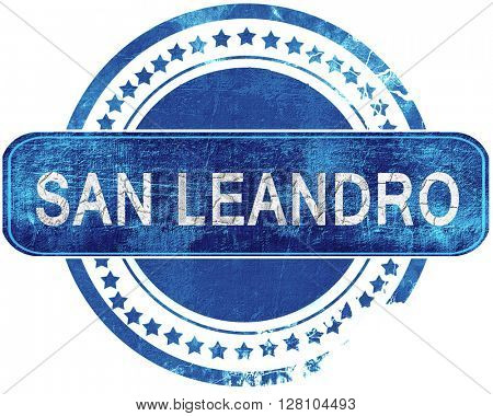 san leandro grunge blue stamp. Isolated on white.