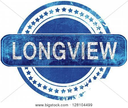 longview grunge blue stamp. Isolated on white.