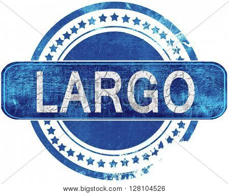 largo grunge blue stamp. Isolated on white.