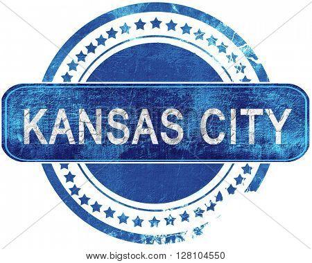 kansas city grunge blue stamp. Isolated on white.