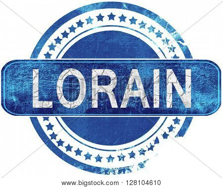 lorain grunge blue stamp. Isolated on white.