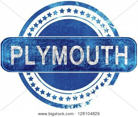 plymouth grunge blue stamp. Isolated on white.