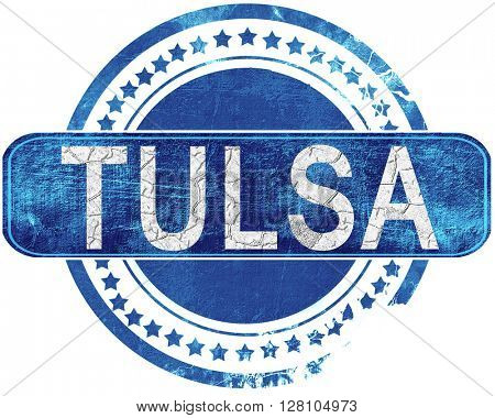 tulsa grunge blue stamp. Isolated on white.