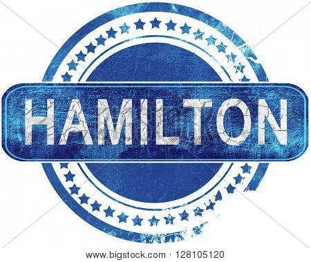 hamilton grunge blue stamp. Isolated on white.