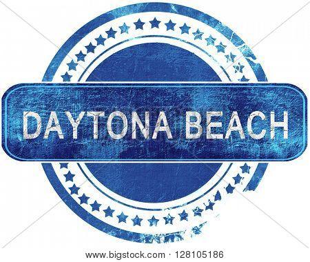 daytona beach grunge blue stamp. Isolated on white.