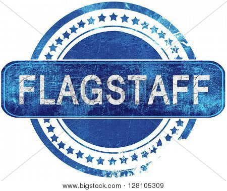 flagstaff grunge blue stamp. Isolated on white.