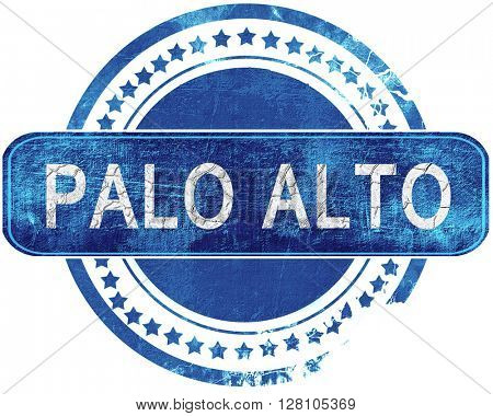 palo alto grunge blue stamp. Isolated on white.