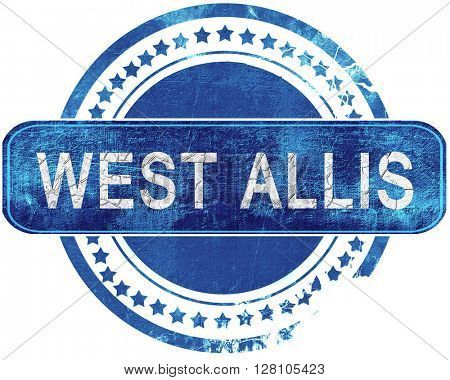 west allis grunge blue stamp. Isolated on white.