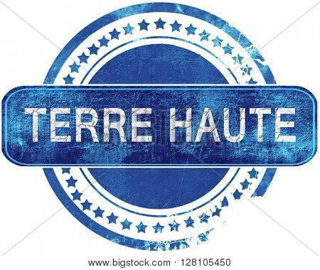 terre haut grunge blue stamp. Isolated on white.