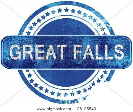 great falls grunge blue stamp. Isolated on white.