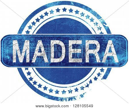 madera grunge blue stamp. Isolated on white.