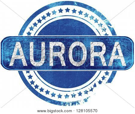 aurora grunge blue stamp. Isolated on white.