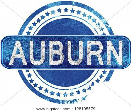 auburn grunge blue stamp. Isolated on white.