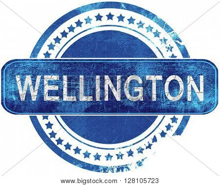 wellington grunge blue stamp. Isolated on white.