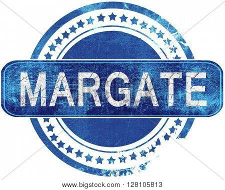 margate grunge blue stamp. Isolated on white.