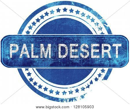 palm desert grunge blue stamp. Isolated on white.