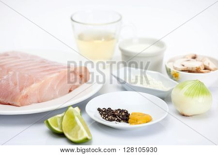 Fish fillet preparation : Ingredients to prepare a sea bass fillet