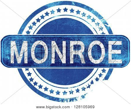 monroe grunge blue stamp. Isolated on white.