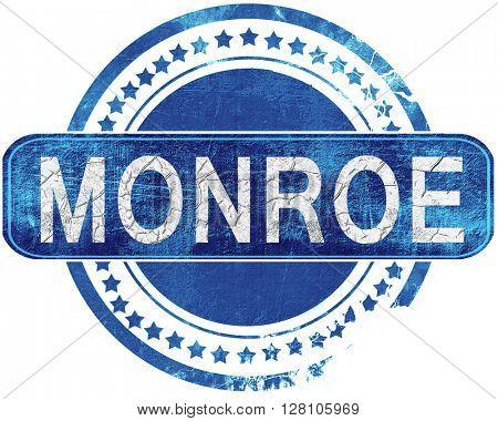 monroe grunge blue stamp. Isolated on white.