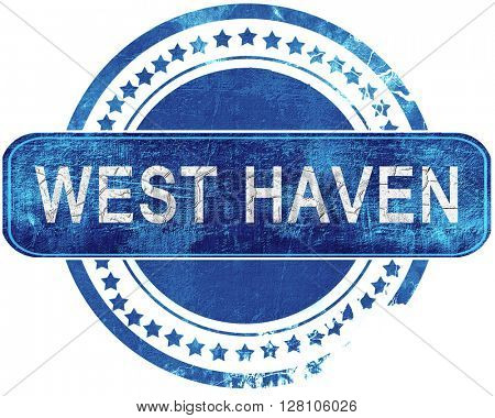 west haven grunge blue stamp. Isolated on white.