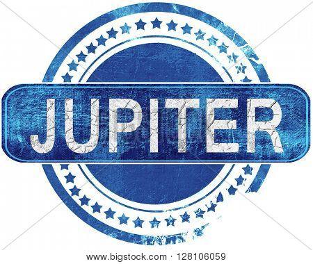 jupiter grunge blue stamp. Isolated on white.