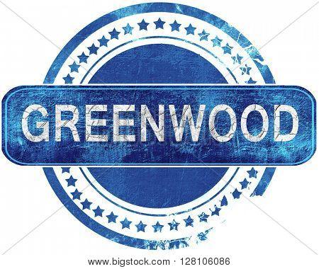greenwood grunge blue stamp. Isolated on white.