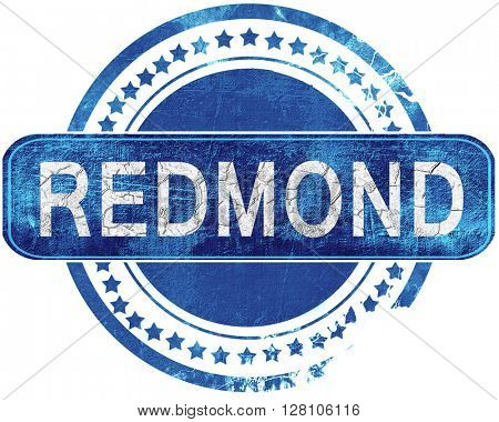 redmond grunge blue stamp. Isolated on white.