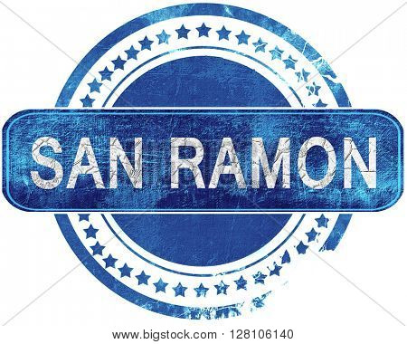 san ramon grunge blue stamp. Isolated on white.