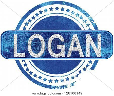 logan grunge blue stamp. Isolated on white.