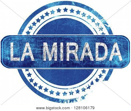 la mirada grunge blue stamp. Isolated on white.